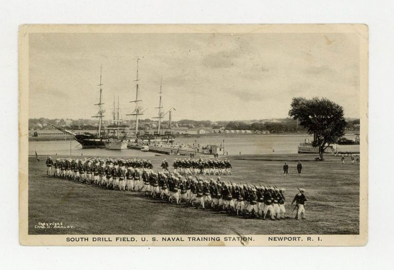 Photographic postard of South Drill Field, U. S. Naval Training Station. Pictorial postcard.