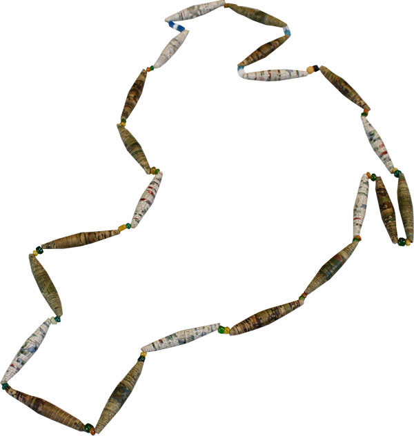 Original Necklace of Wallpaper and Glass Beads