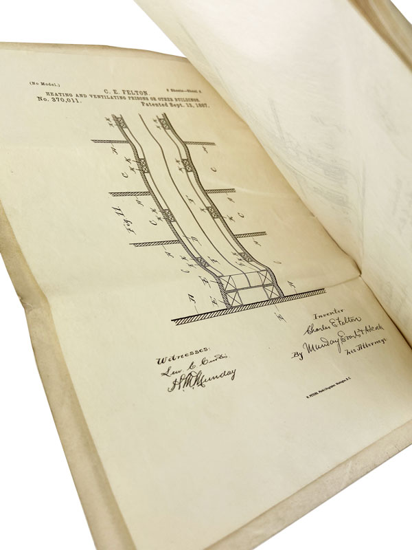 """[Original Patent Application No. 370,011 Accomplished in Manuscript] """"To all to whom these presents shall come...a petition praying for the grant of Letters Patent for an alleged new and useful improvement in [Heating and Ventilating Prisons or other Buildings...]. CHICAGO - PENAL REFORM, Charles E. FELTON, Herbert A. Streeter."""