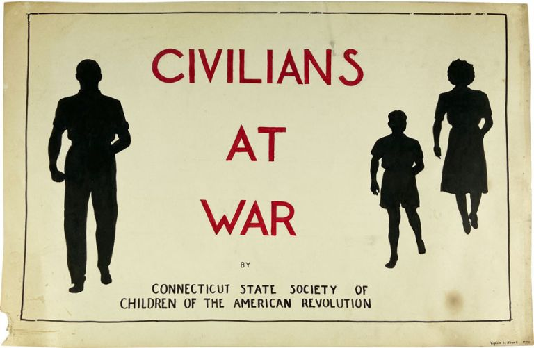 """Three Original Pieces of Art for the Unpublished Work """"Civilians At War"""" CONNECTICUT STATE SOCIETY OF CHILDREN OF THE AMERICAN REVOLUTION, Virginia L. STOWELL."""