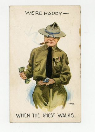 "Color pictorial postcard depicting a cartoon signed ""Wall"" of a cigar-smoking soldier counting..."