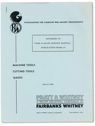 Revisions to Tape-O-Matic Service Manual. Publication M3042-10. PRATT, WHITNEY