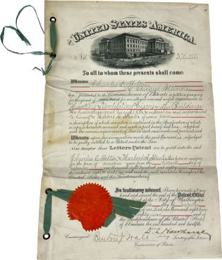 """[Original Patent Application No. 370,011 Accomplished in Manuscript] """"To all to whom these presents shall come...a petition praying for the grant of Letters Patent for an alleged new and useful improvement in [Heating and Ventilating Prisons or other Buildings...]"""